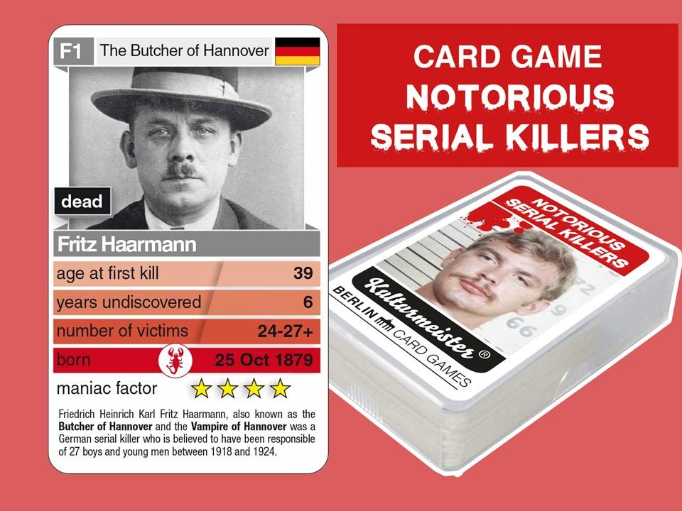 cardgame Notorious Serial Killers: playing card F1 with facts about serial killer Fritz Haarmann