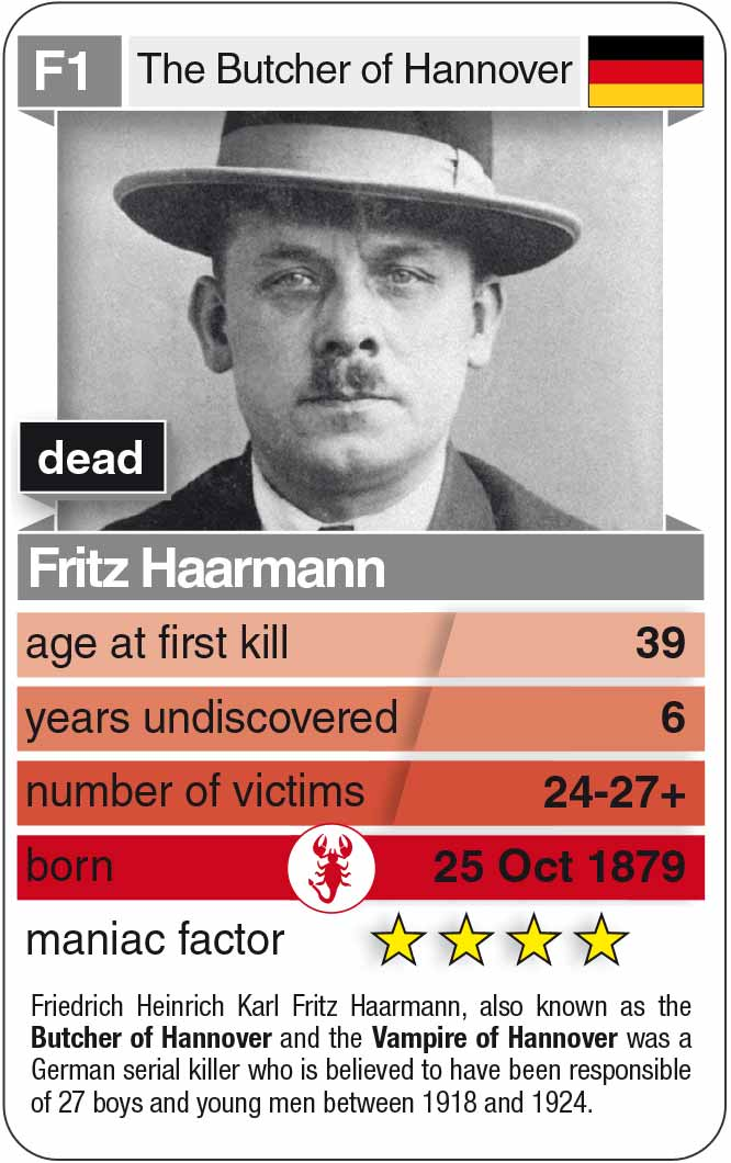 playing card F1: Fritz Haarmann (* 1879 – † 1925)