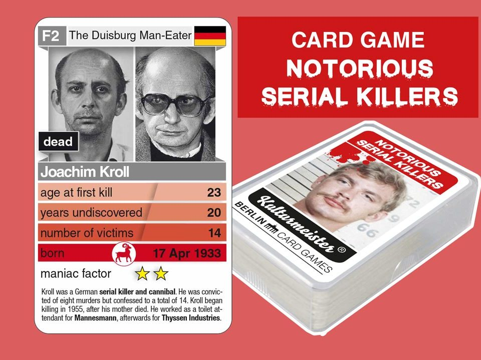 Quartettspiel Notorious Serial Killers: playing card F2 with facts of serial killer Joachim Kroll