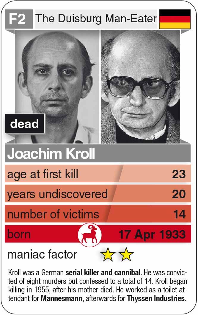 Spielkarte F2: Joachim Kroll (* 1933 – † 1991)