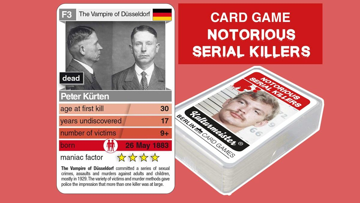 cardgame Notorious Serial Killers: playing card F3 with facts about serial killer Peter Kürten