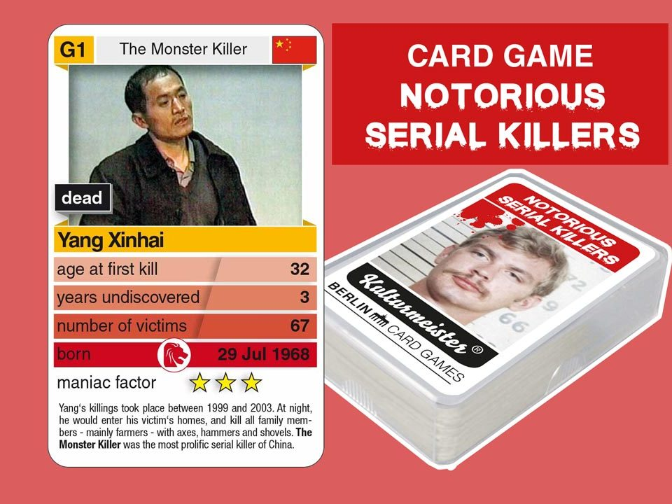 cardgame Notorious Serial Killers: playing card G4 with facts about serial killer Yang Xinhai