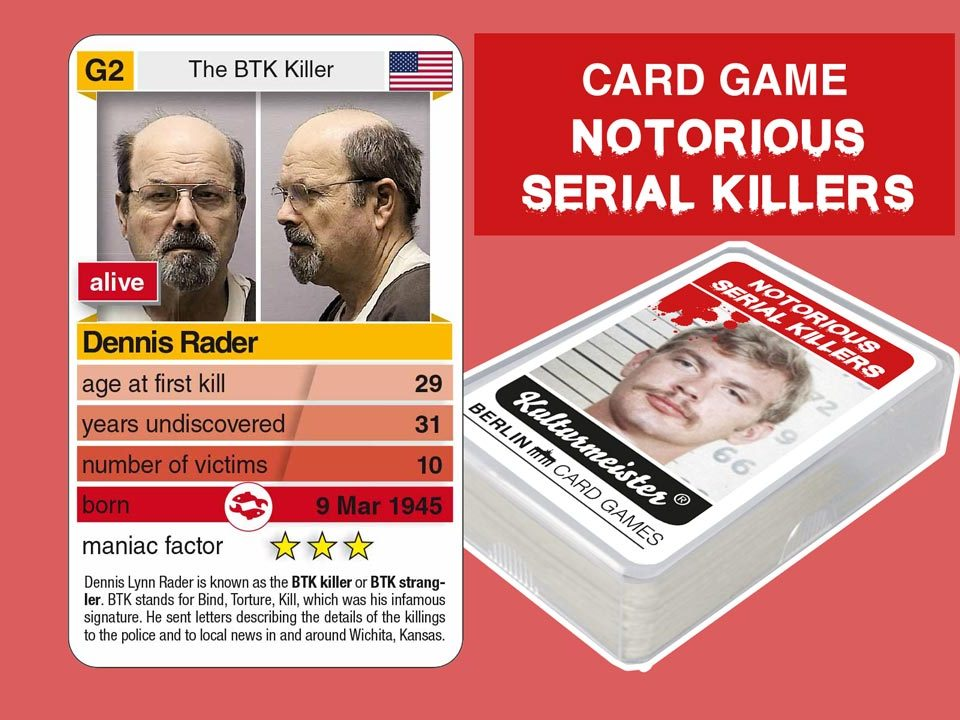 cardgame Notorious Serial Killers: playing card G2 with facts about serial killer Dennis Rader