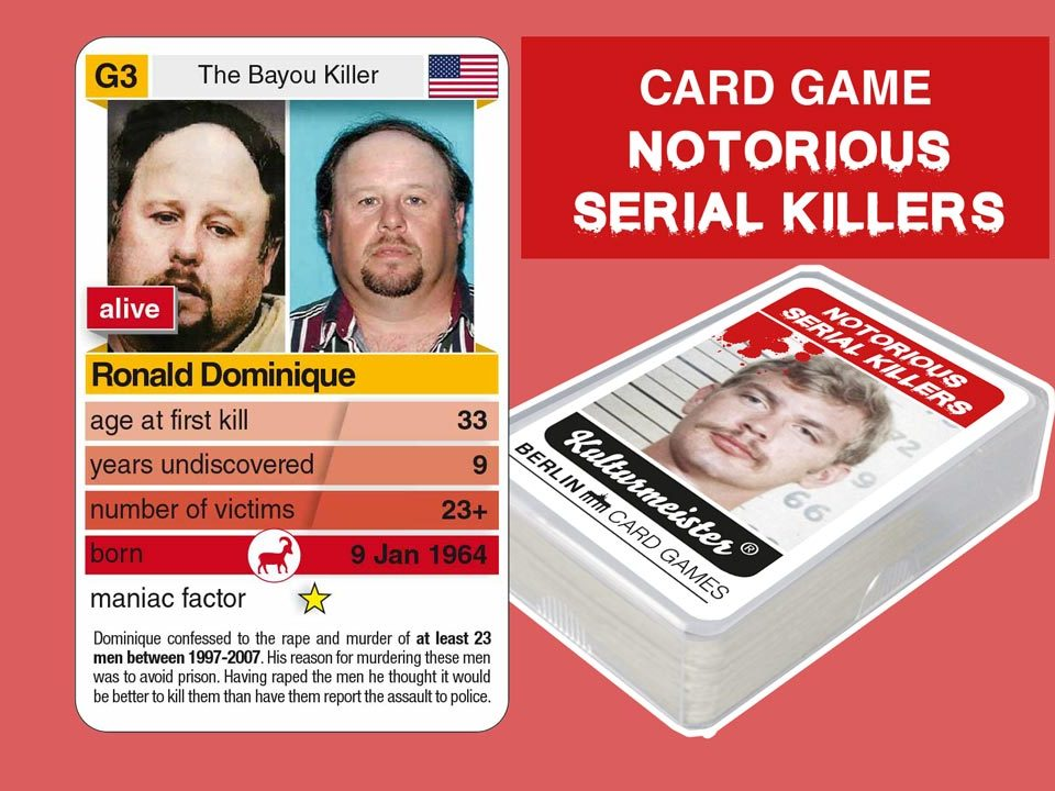 cardgame Notorious Serial Killers: playing card G3 with facts about serial killer Ronald Dominique
