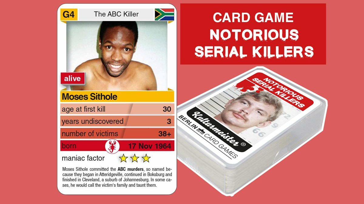 cardgame Notorious Serial Killers: playing card G4 with facts about serial killer Moses Sithole