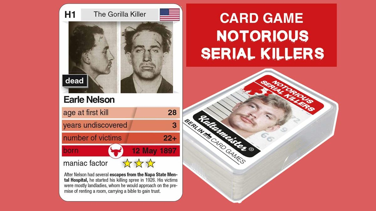 cardgame Notorious Serial Killers: playing card H1 with facts about serial killer Earle Nelson