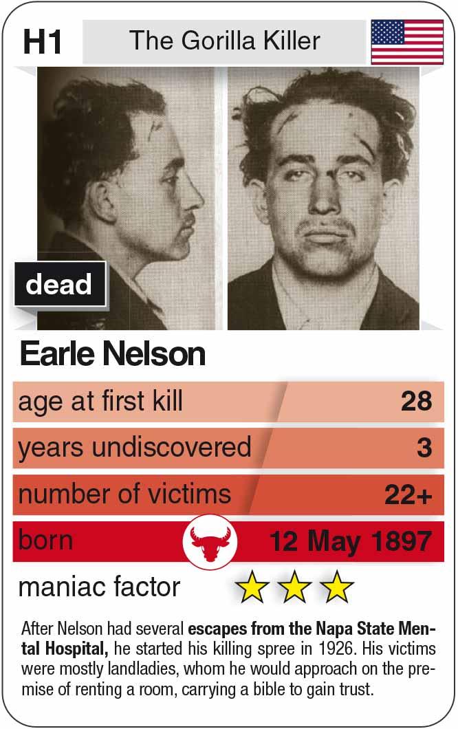 Spielkarte H1:  Earle Nelson (* 1897 – † 1928)