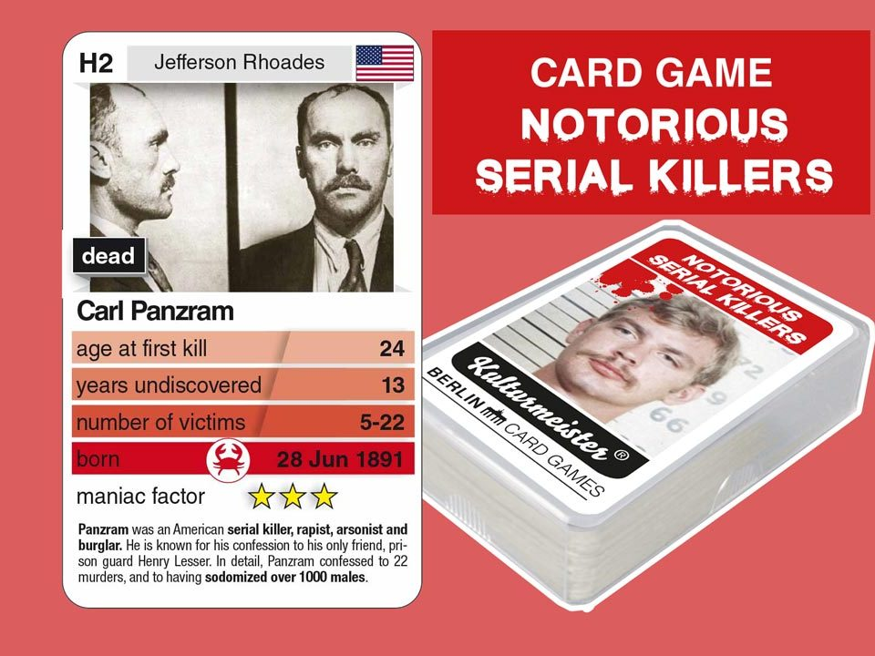 cardgame Notorious Serial Killers: playing card H2 with facts about serial killer Carl Panzram
