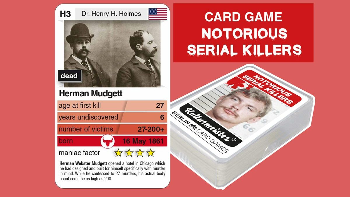 cardgame Notorious Serial Killers: playing card H3 with facts about serial killer Hermann Mudgett
