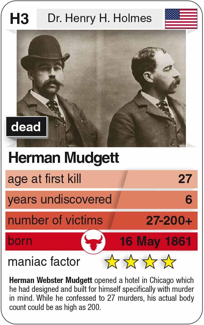 playing card H3:  Hermann Mudgett (* 1861 – † 1896)