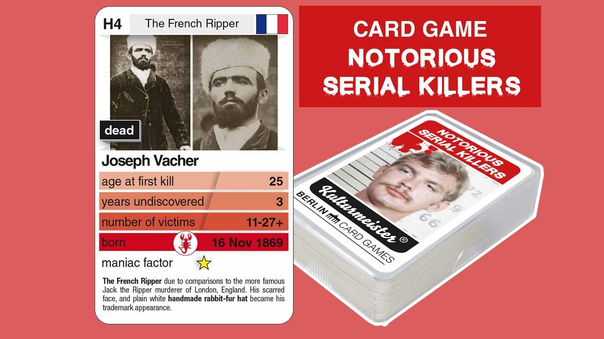 cardgame Notorious Serial Killers: playing card H4 with facts about serial killer Joseph Vacher