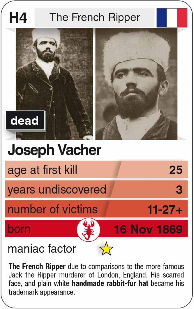playing card H4:  Joseph Vacher (* 1869 – † 1898)